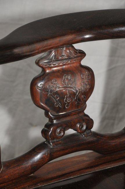 Pair of Arm chairs. China. 19th century. Hung Mu. - 6