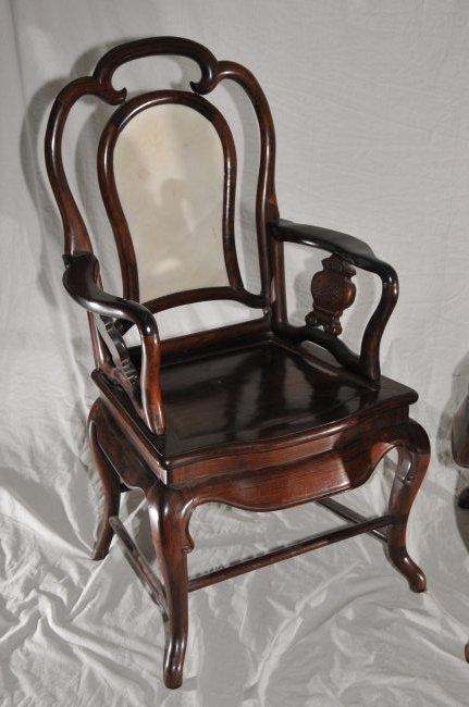 Pair of Arm chairs. China. 19th century. Hung Mu. - 7
