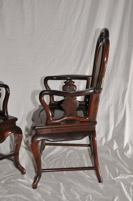 Pair of Arm chairs. China. 19th century. Hung Mu. - 8