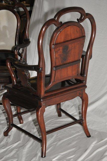 Pair of Arm chairs. China. 19th century. Hung Mu. - 9