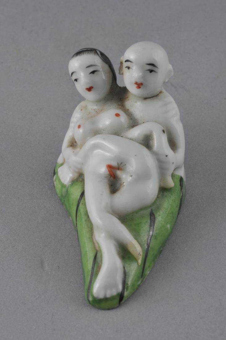 """Porcelain Erotic figure. China. Early 20th century. 3"""" - 2"""