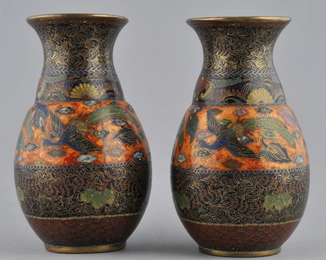 Pair of Cloisonne vases. Japan. Meiji period
