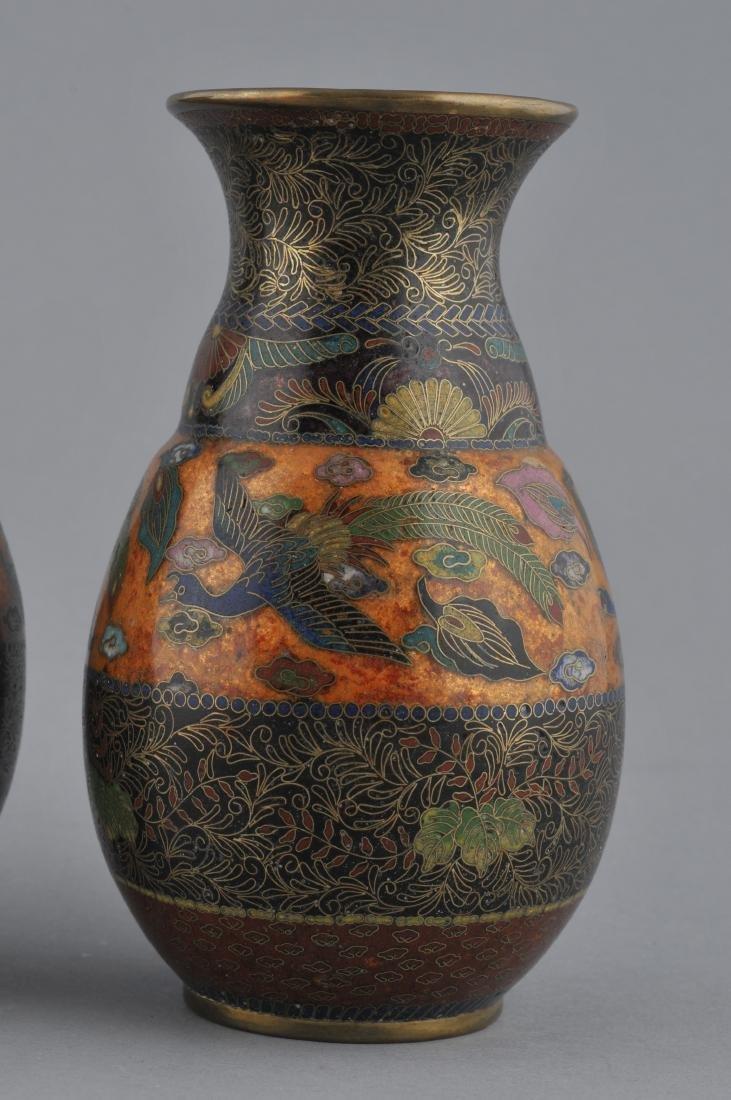 Pair of Cloisonne vases. Japan. Meiji period - 2