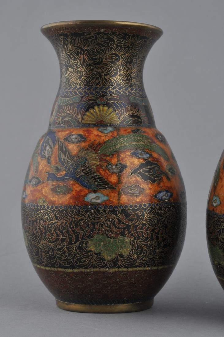 Pair of Cloisonne vases. Japan. Meiji period - 3
