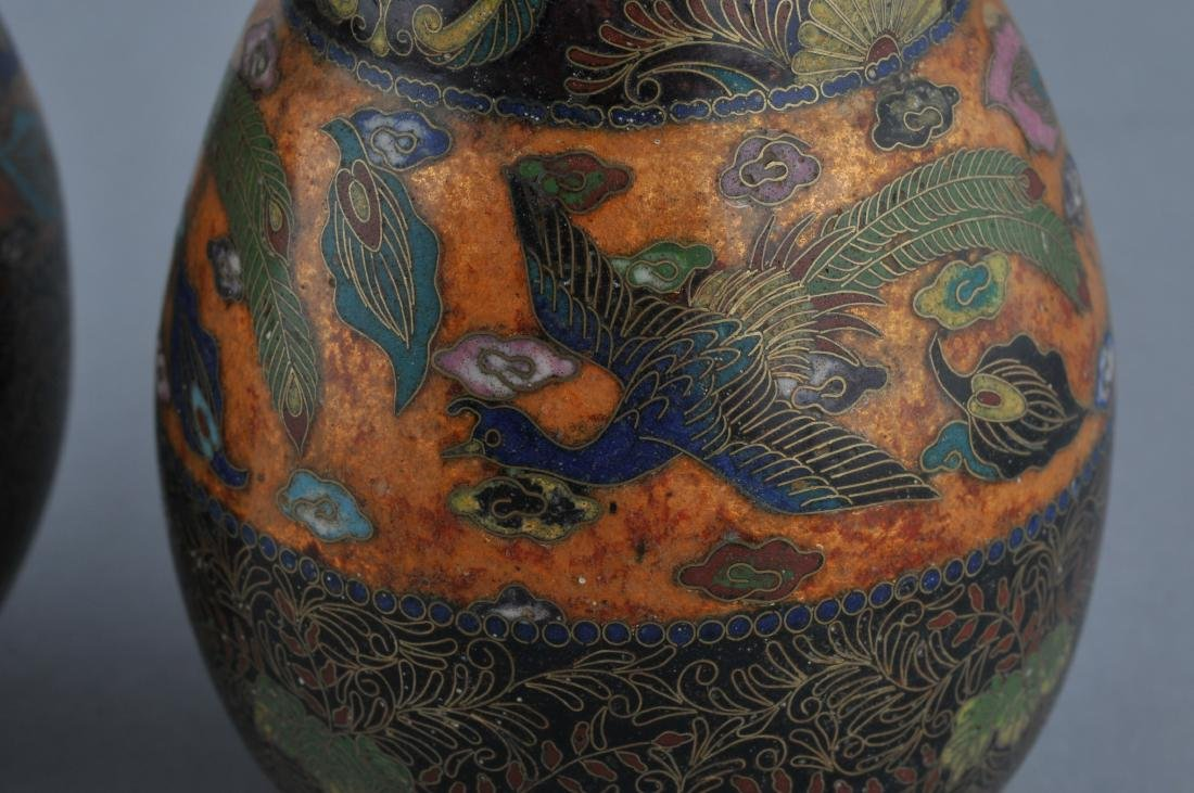 Pair of Cloisonne vases. Japan. Meiji period - 4