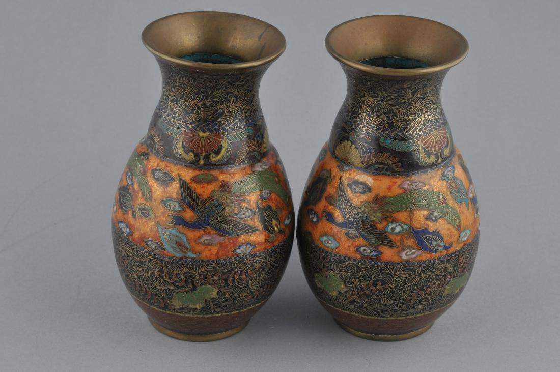 Pair of Cloisonne vases. Japan. Meiji period - 6