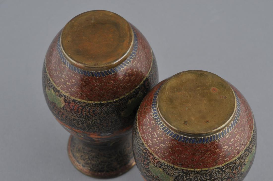 Pair of Cloisonne vases. Japan. Meiji period - 7