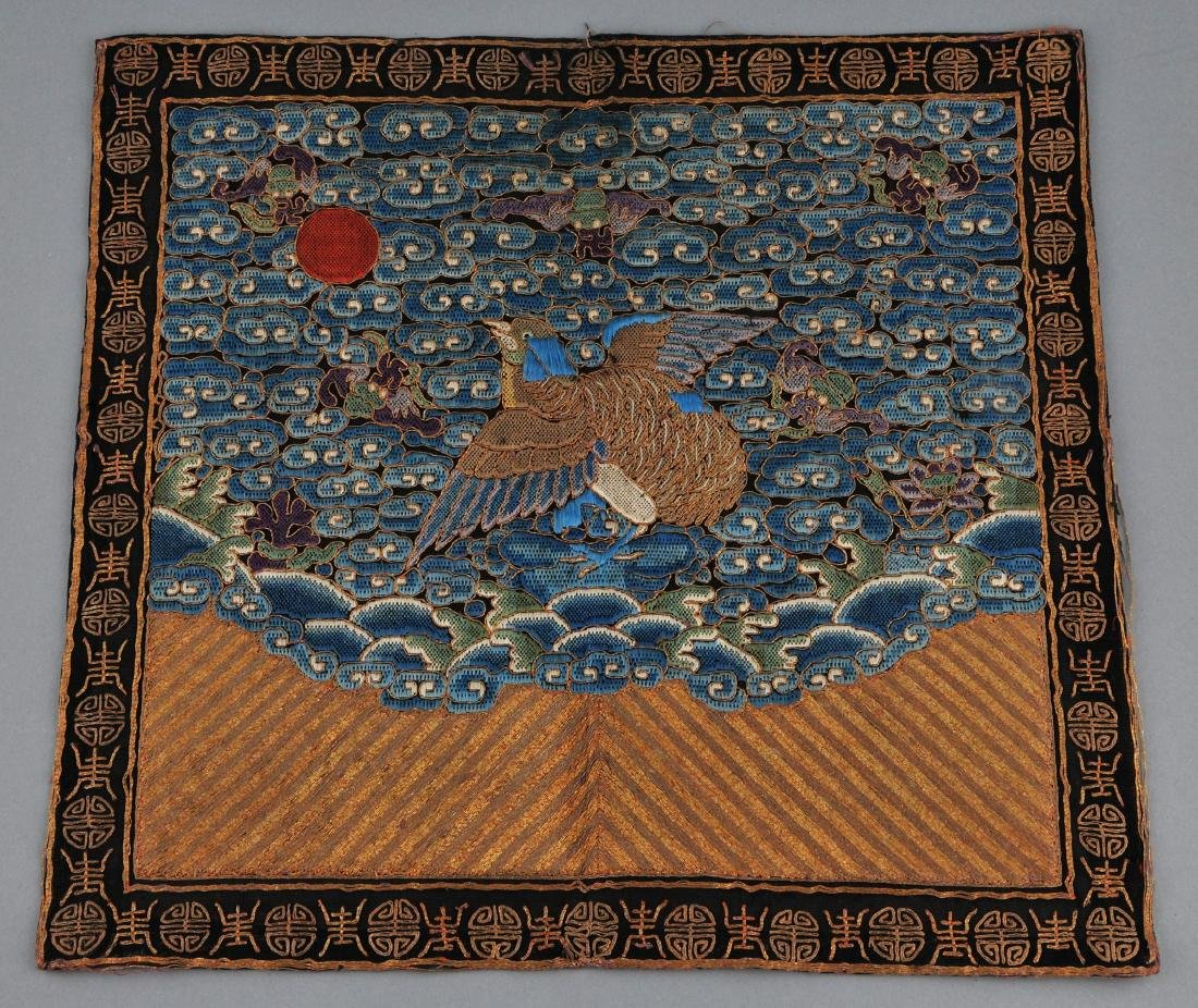 Rank badge. 19th century. Embroidery of a quail on a