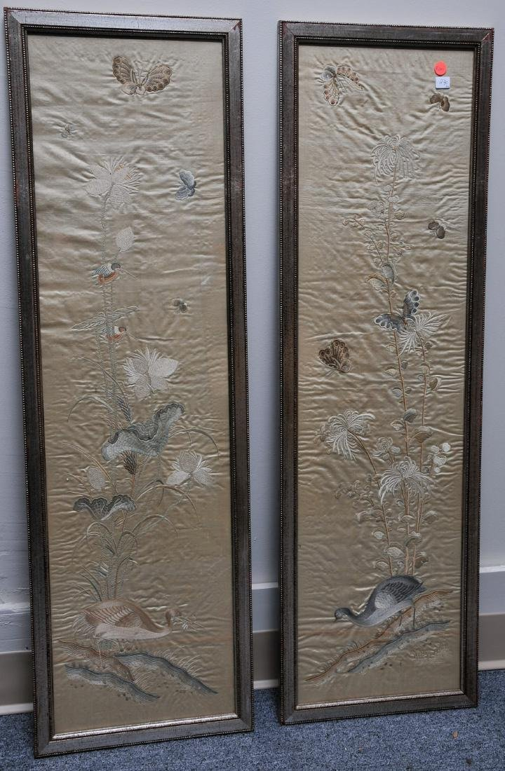 Pair of embroidered silk panels. China. 19th century.