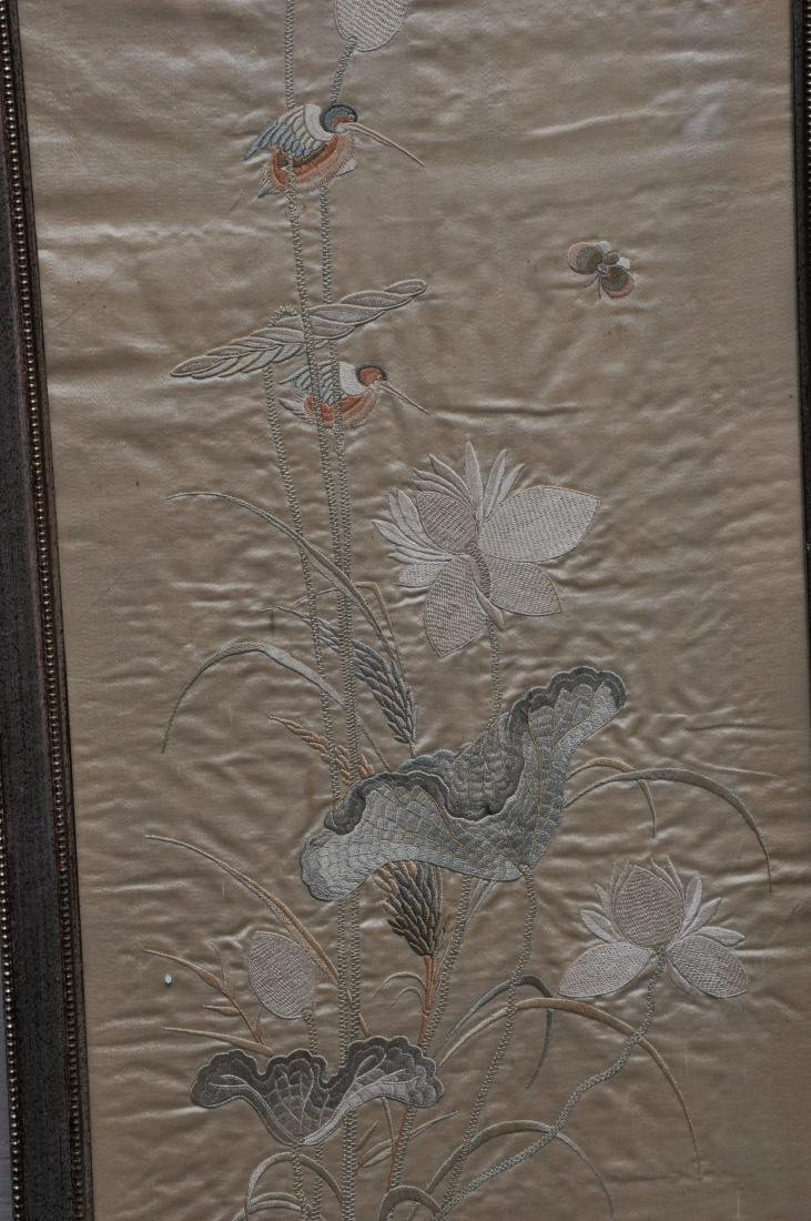 Pair of embroidered silk panels. China. 19th century. - 4