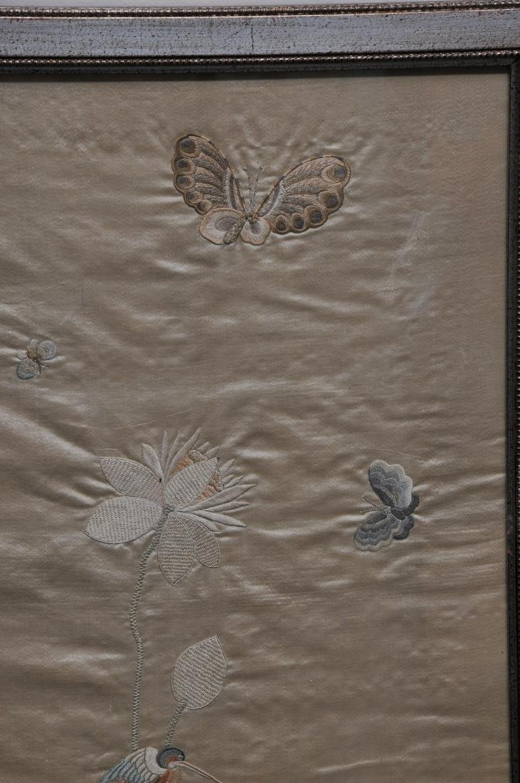 Pair of embroidered silk panels. China. 19th century. - 5