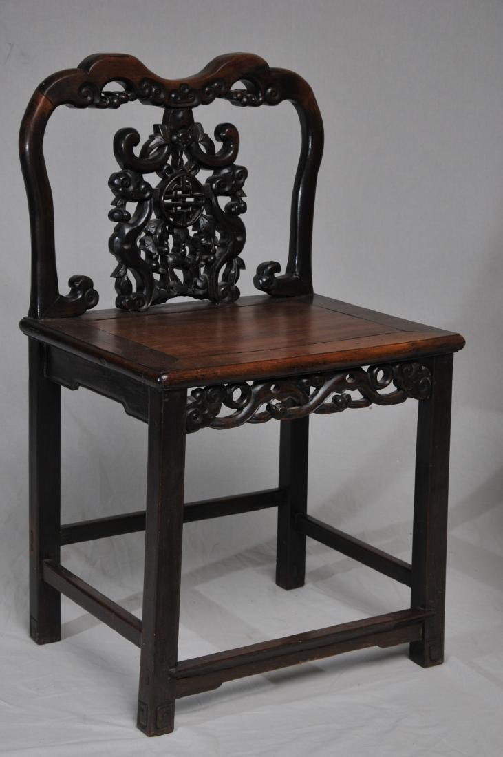 Pair of side chairs. China. 19th century.  Carved back - 3