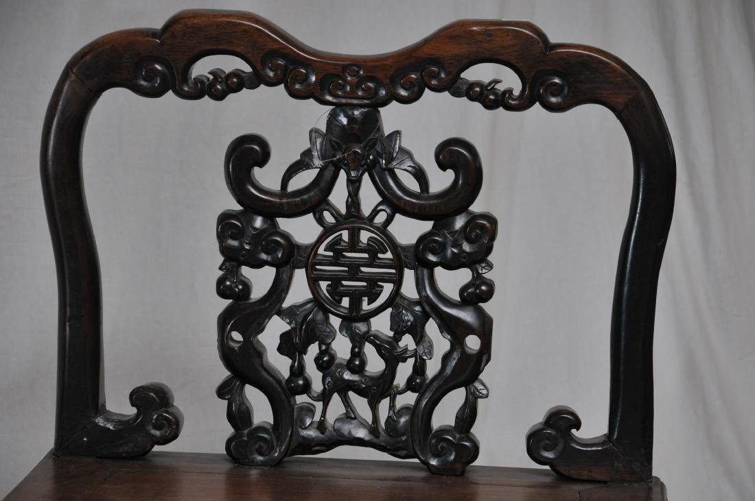 Pair of side chairs. China. 19th century.  Carved back - 4