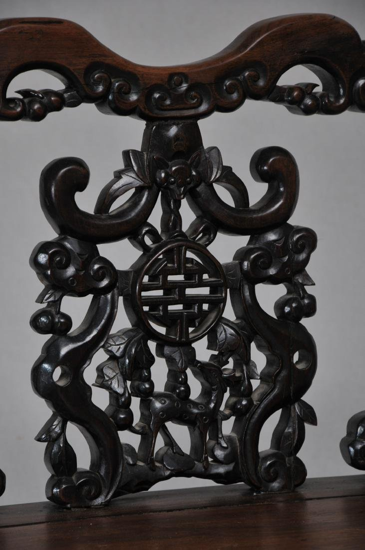 Pair of side chairs. China. 19th century.  Carved back - 5