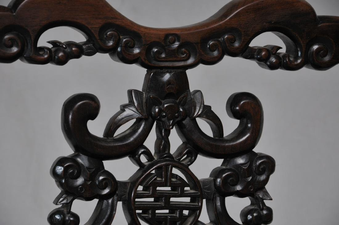 Pair of side chairs. China. 19th century.  Carved back - 6