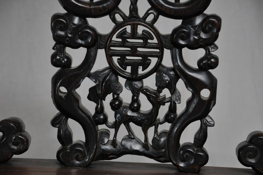 Pair of side chairs. China. 19th century.  Carved back - 7
