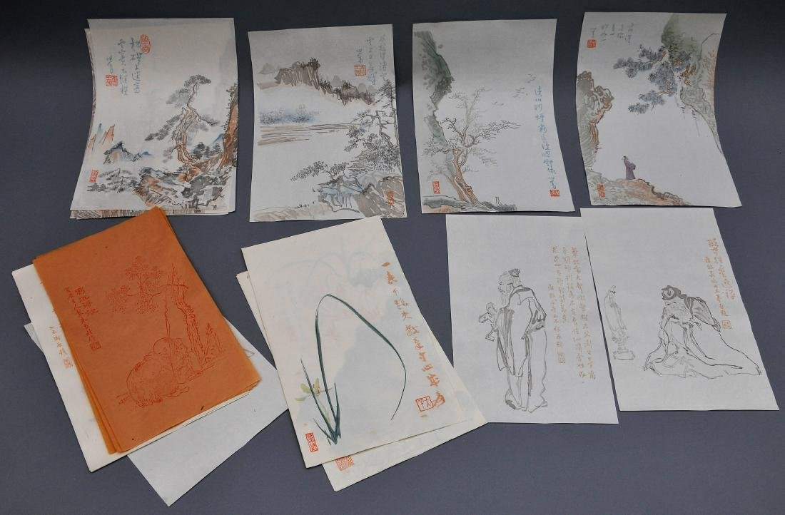 Lot of 18 Woodblock prints. China. 20th century. After