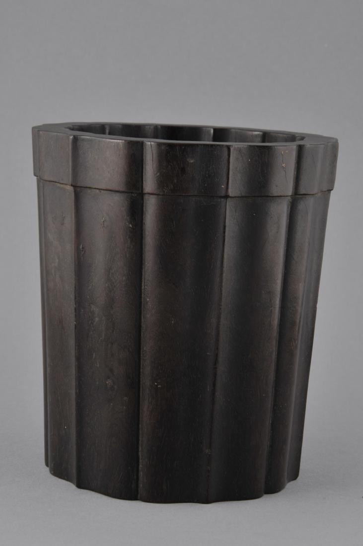 Tzu Tan brush pot. China. 18th/19th century. Fluted - 2