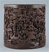 Bamboo brush pot. China. 18th/19th century. Ornately