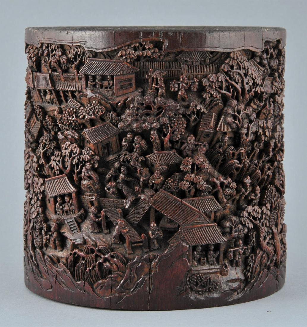 Bamboo brush pot. China. 18th/19th century. Ornately