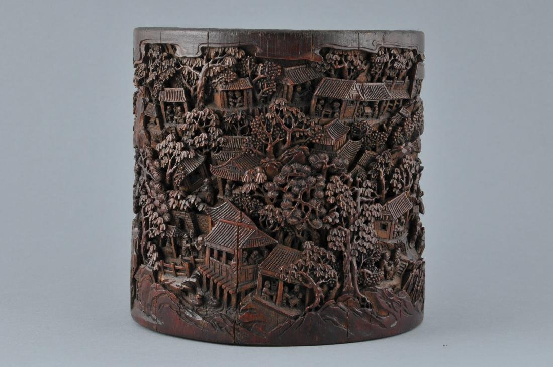 Bamboo brush pot. China. 18th/19th century. Ornately - 2