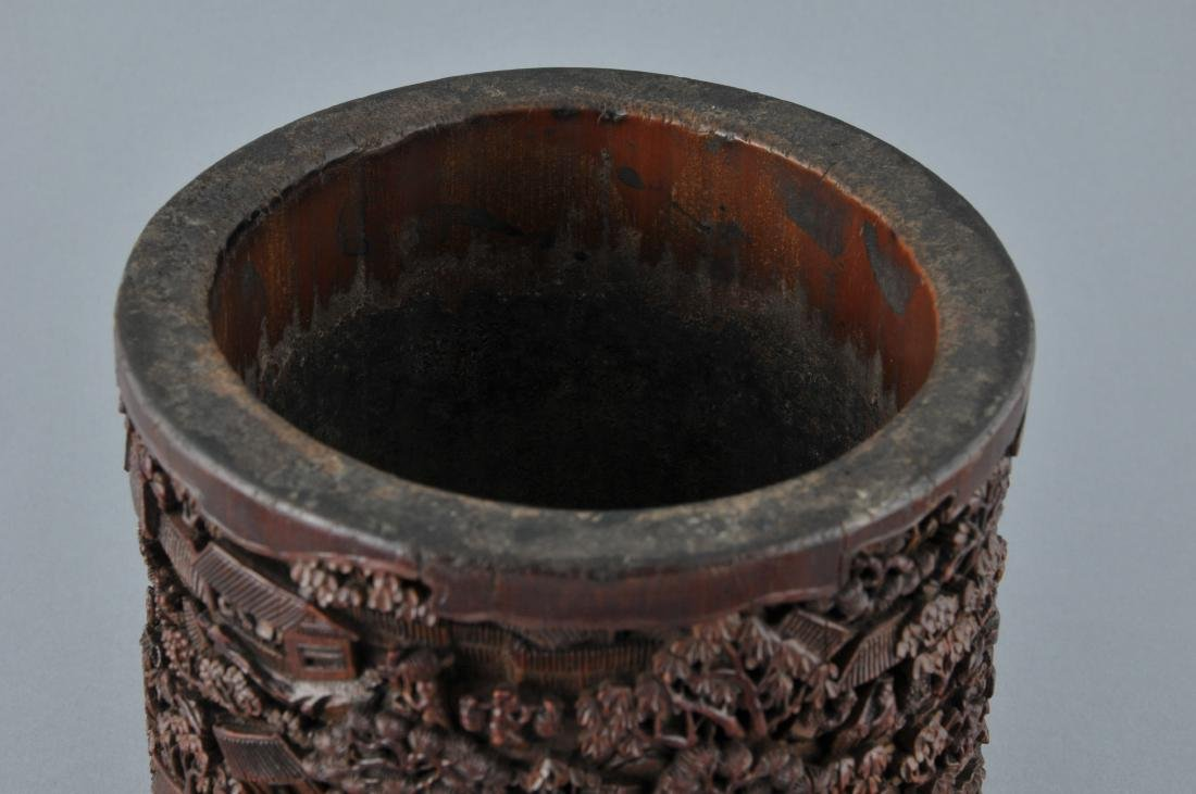 Bamboo brush pot. China. 18th/19th century. Ornately - 6