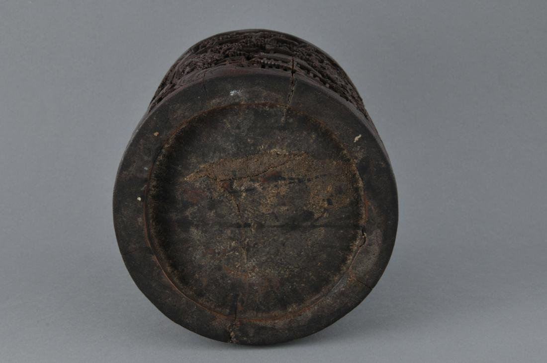 Bamboo brush pot. China. 18th/19th century. Ornately - 8