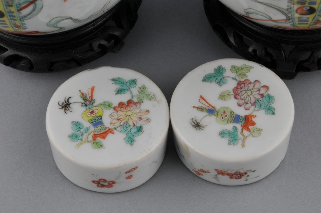 Pair of porcelain covered jars. China. Early 20th - 4