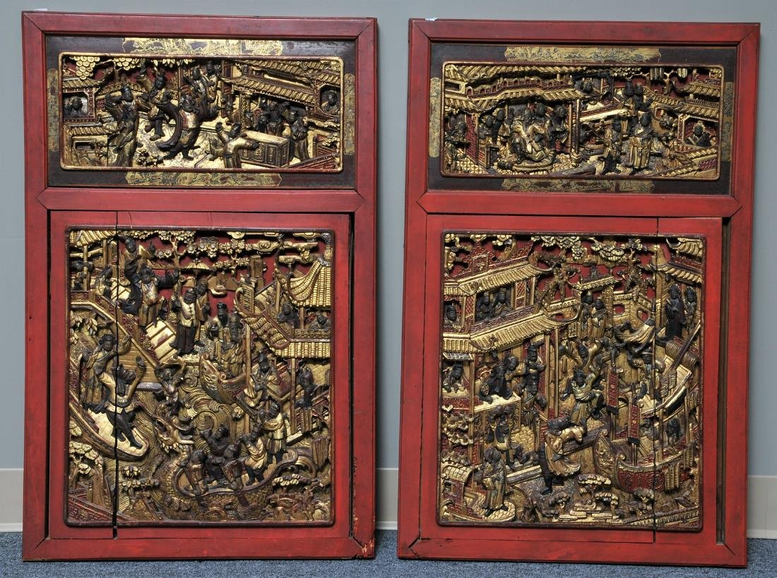 Pair of Architectural panels. China. 19th century.