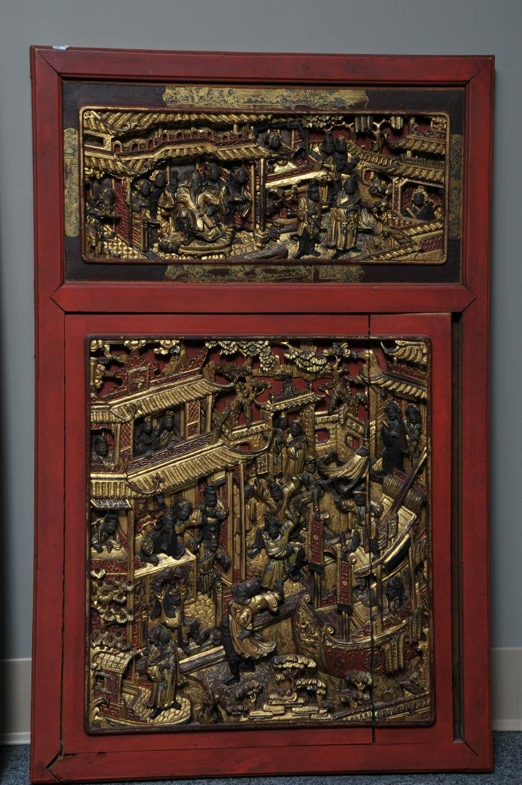Pair of Architectural panels. China. 19th century. - 2