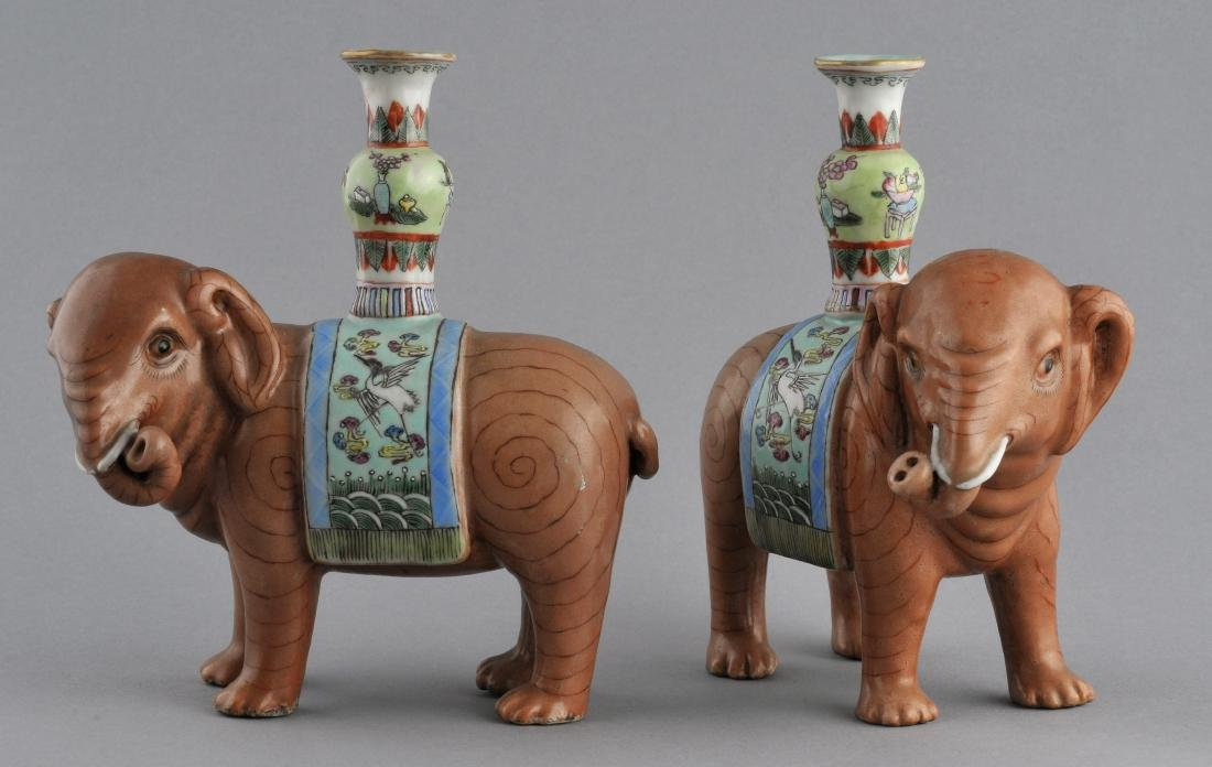 Pair of Chinese Export elephants. Early 20th century.
