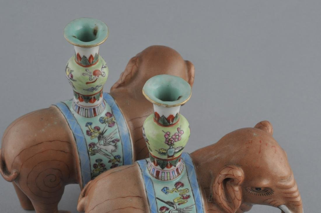 Pair of Chinese Export elephants. Early 20th century. - 6