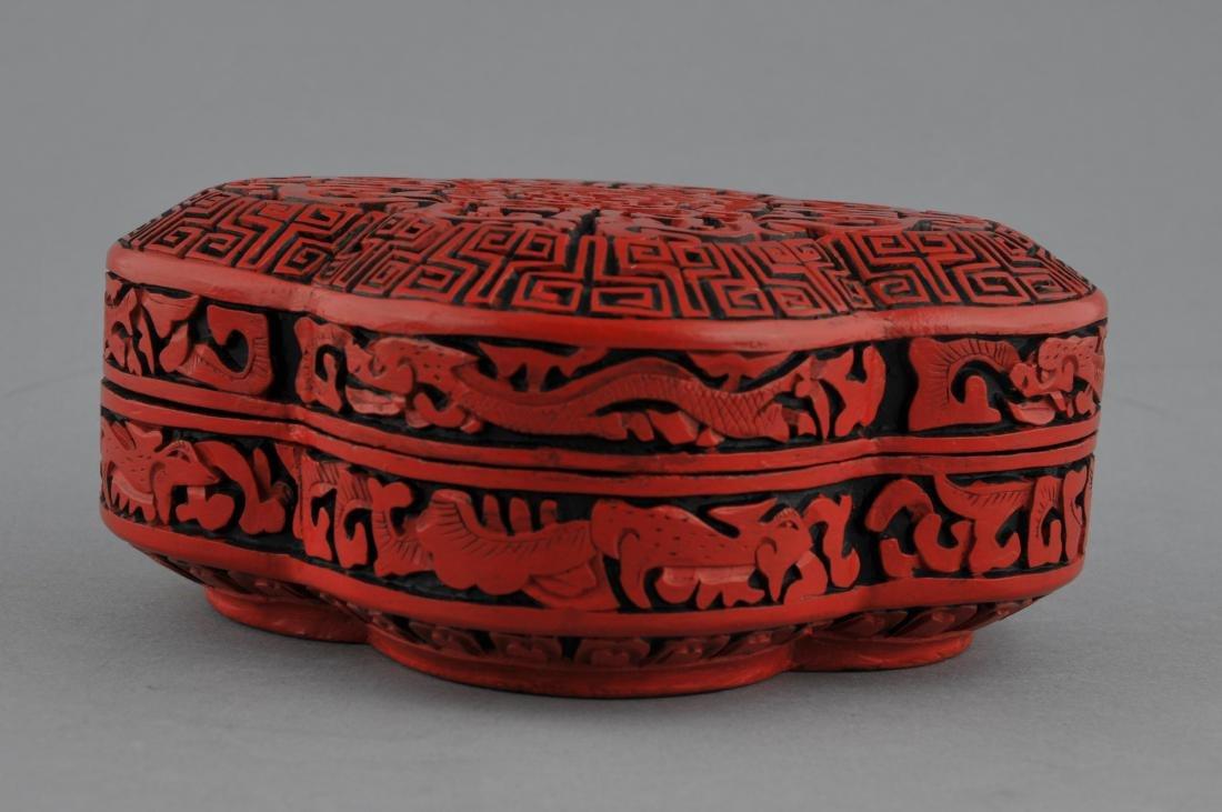 Cinnabar lacquer box. China. 20th century. Quatrefoil - 2