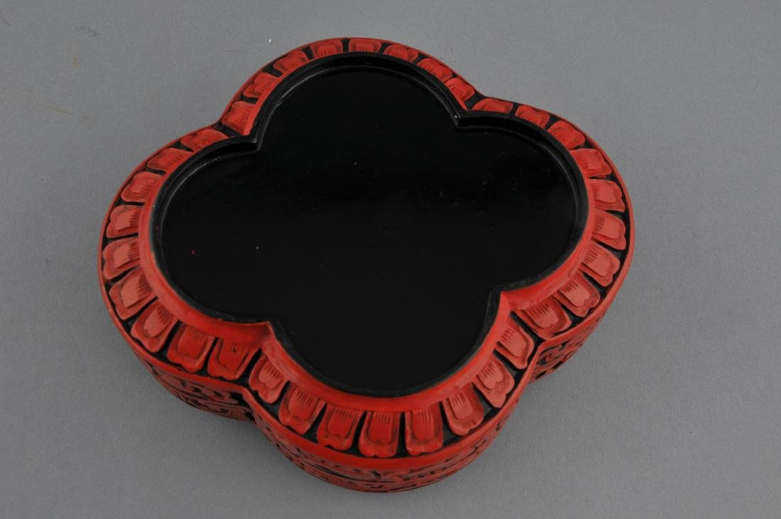 Cinnabar lacquer box. China. 20th century. Quatrefoil - 5