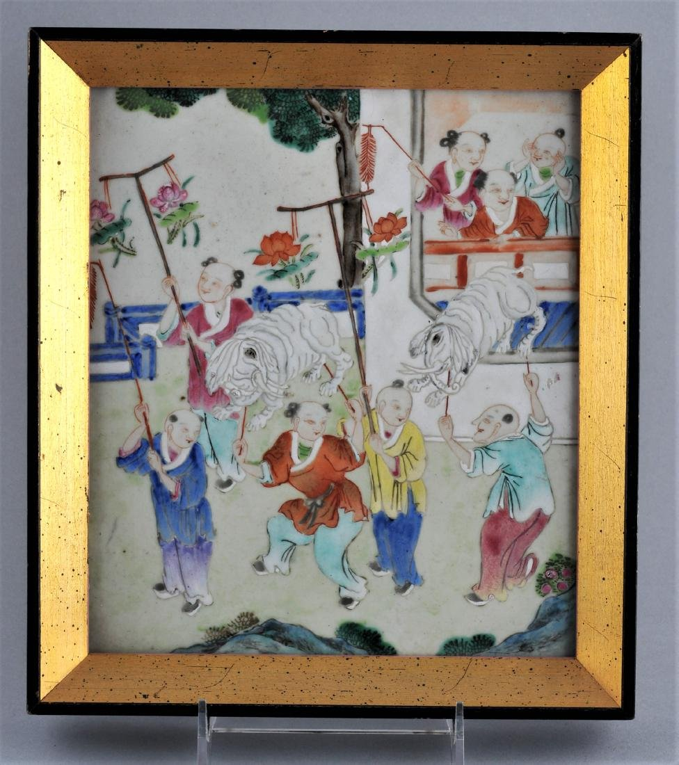 Porcelain plaque. China. 19th century. Famille Rose