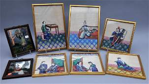 Lot of eight framed works. China. Early 20th century.