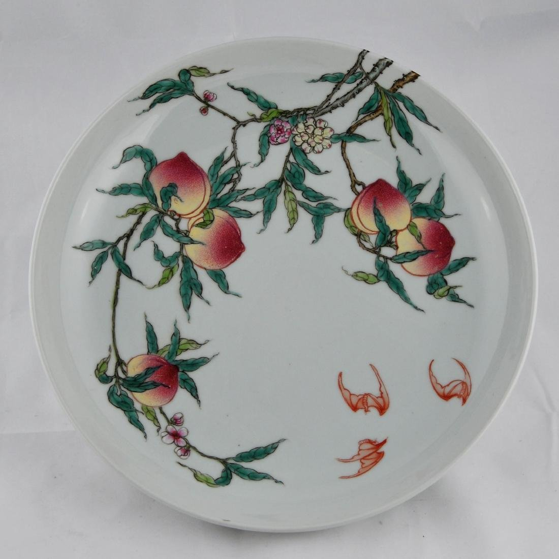 "Porcelain plate. China. 20th century. ""Nine Peaches"""