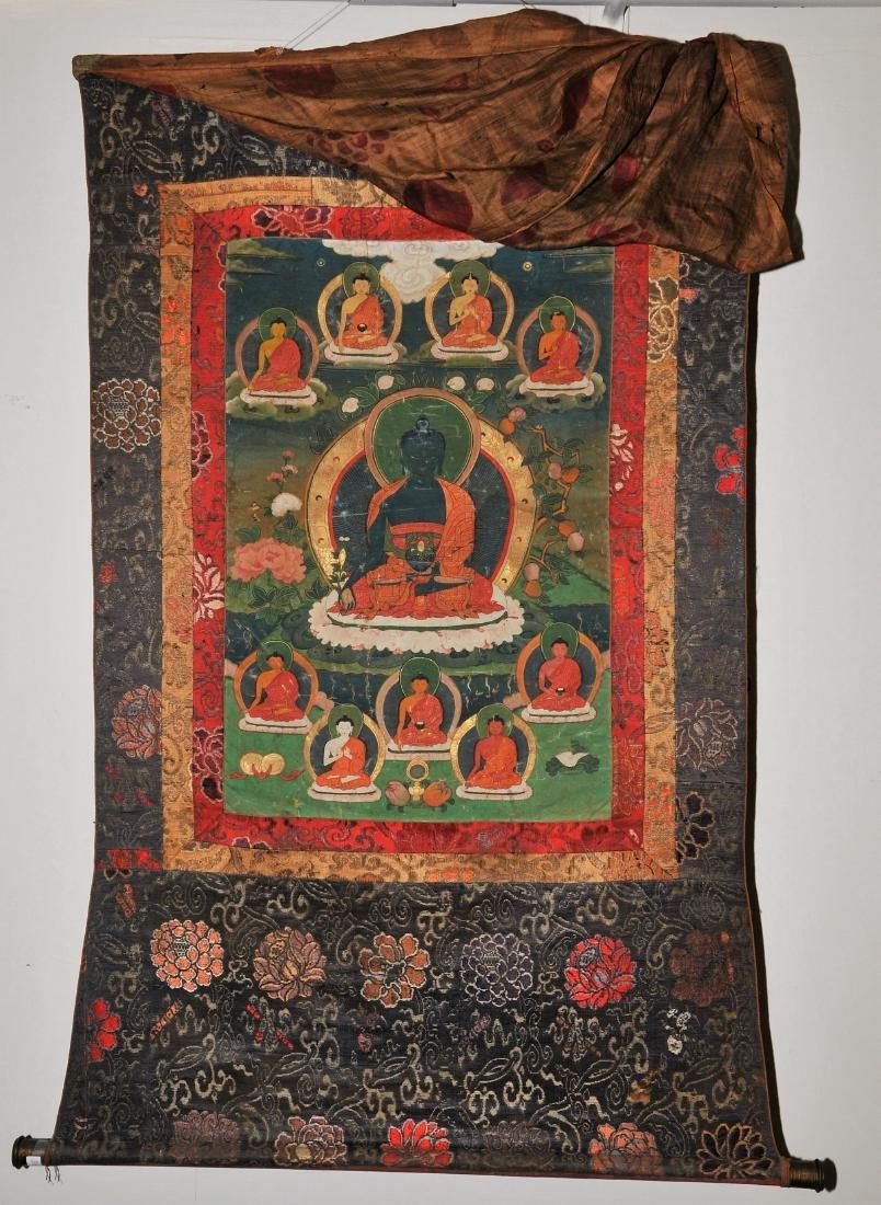 Buddhist Icon. Tibet. 19th C. Thangka. Distemper.