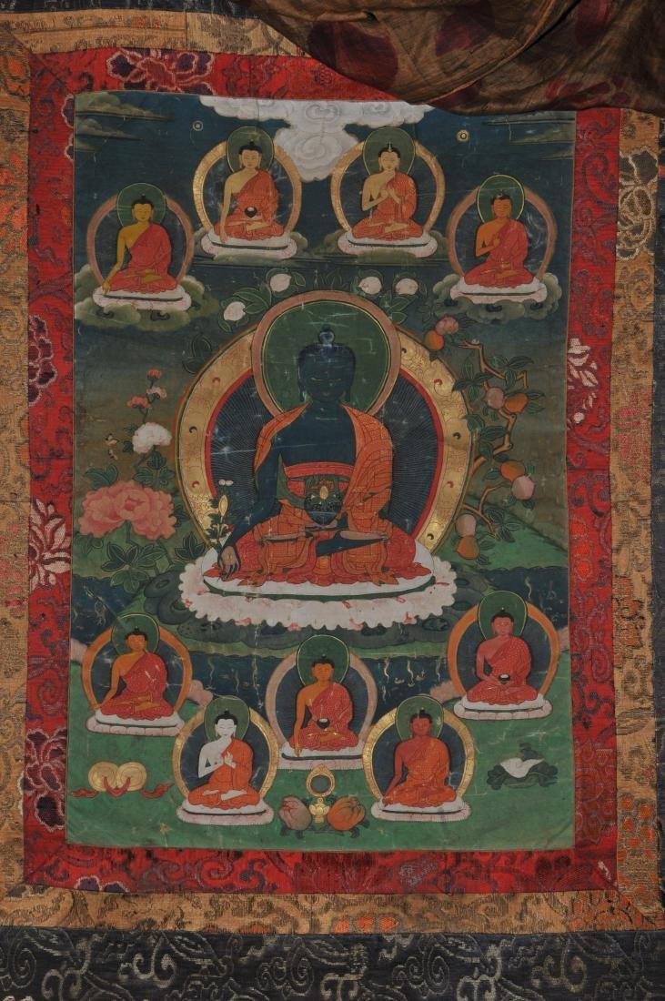 Buddhist Icon. Tibet. 19th C. Thangka. Distemper. - 2