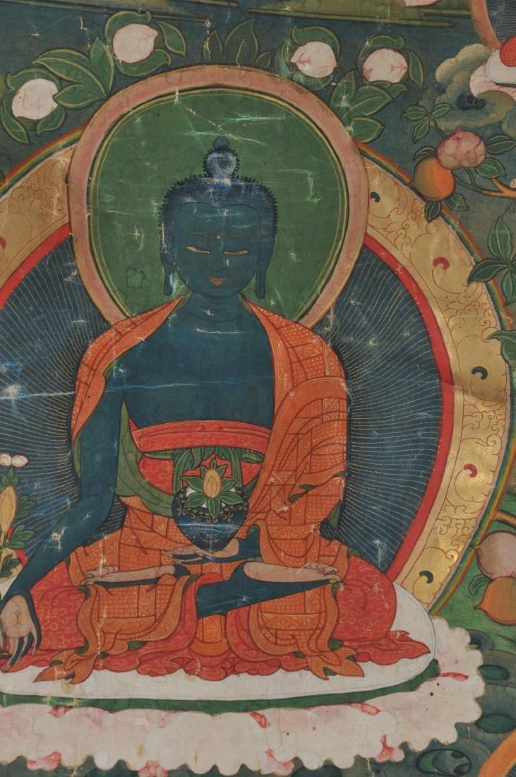Buddhist Icon. Tibet. 19th C. Thangka. Distemper. - 3