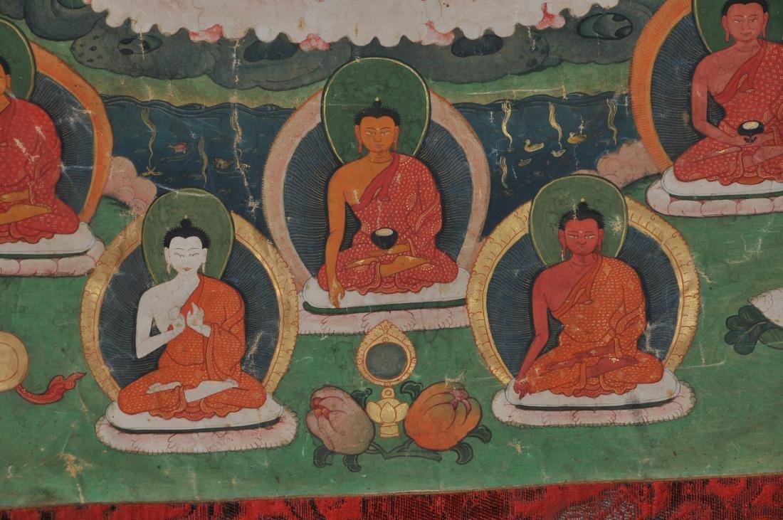Buddhist Icon. Tibet. 19th C. Thangka. Distemper. - 4