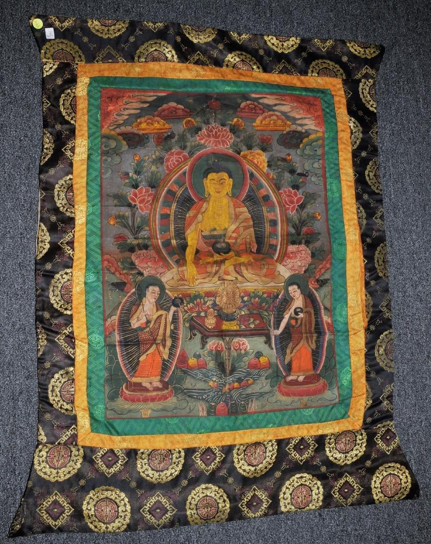 Buddhist Icon Thangka. Tibet. 20th century. Distemper.