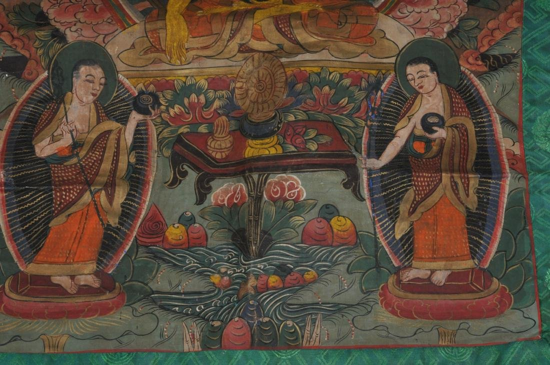Buddhist Icon Thangka. Tibet. 20th century. Distemper. - 4