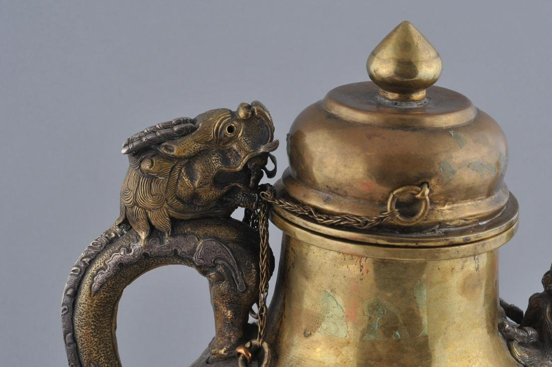 Teapot. Tibet. 19th century. Brass body with silver - 2