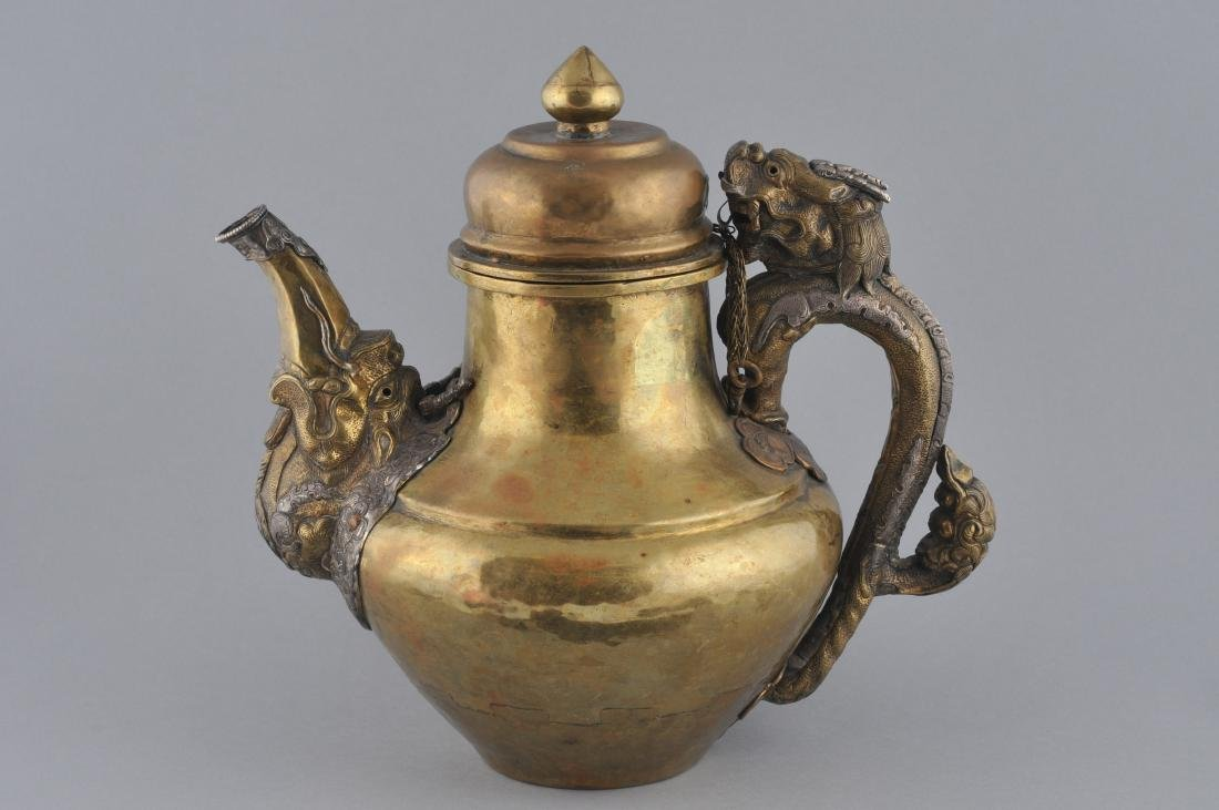 Teapot. Tibet. 19th century. Brass body with silver - 4