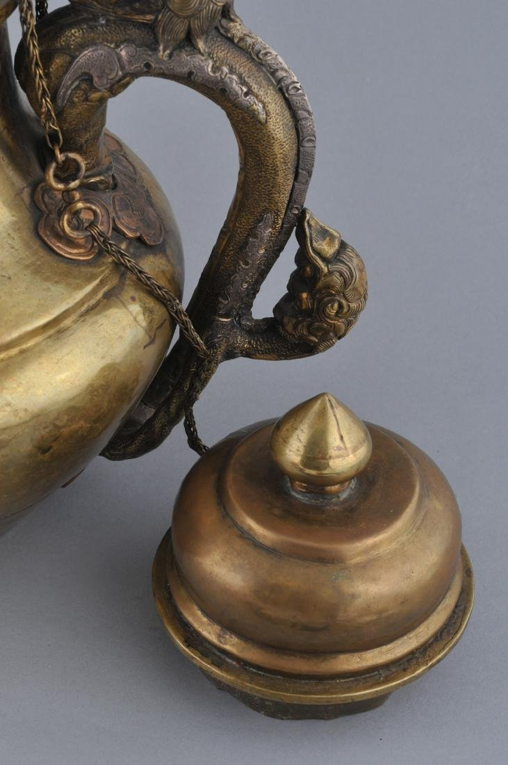 Teapot. Tibet. 19th century. Brass body with silver - 5