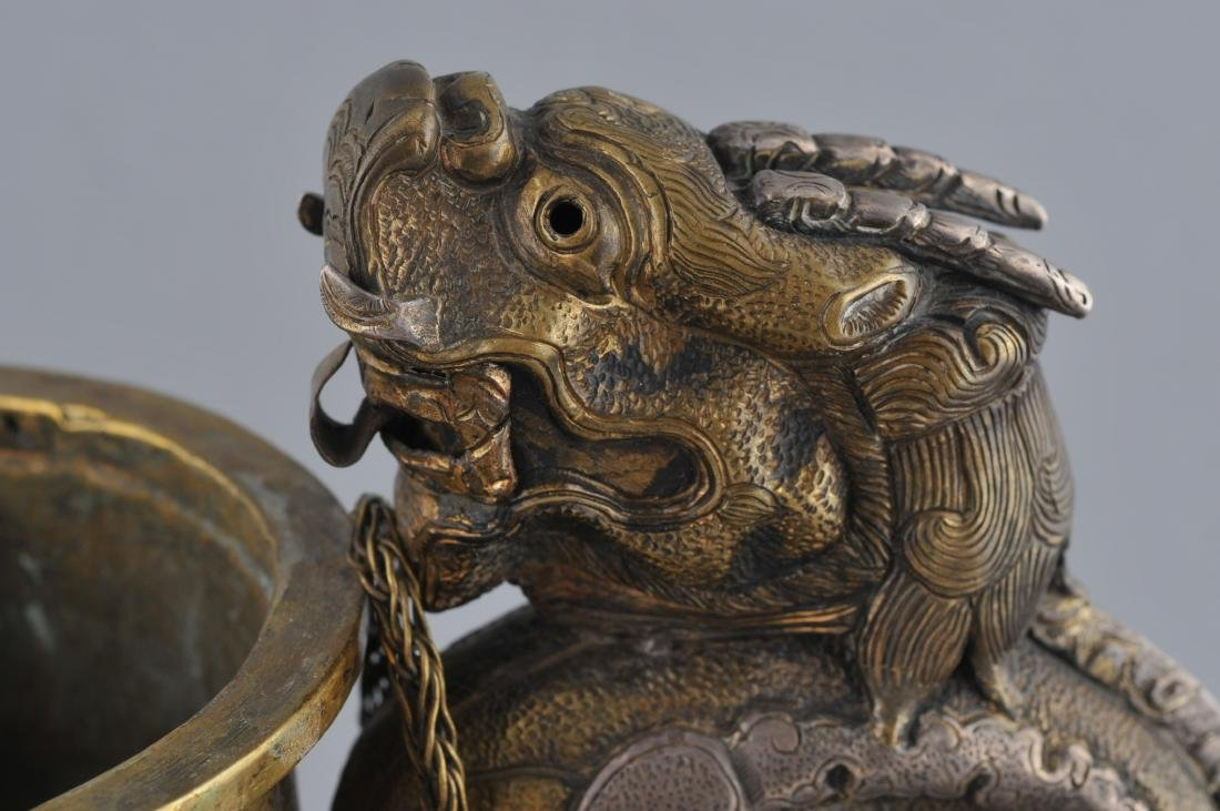 Teapot. Tibet. 19th century. Brass body with silver - 6