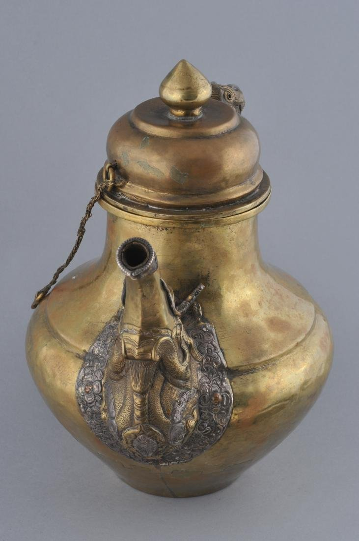 Teapot. Tibet. 19th century. Brass body with silver - 8
