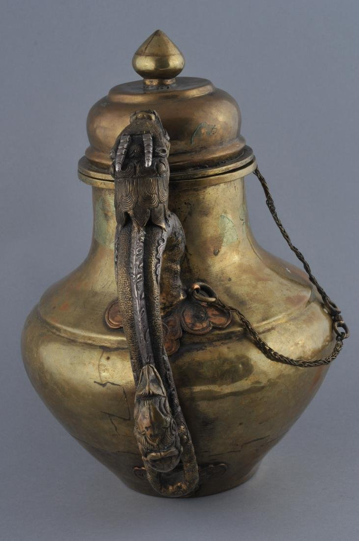 Teapot. Tibet. 19th century. Brass body with silver - 9