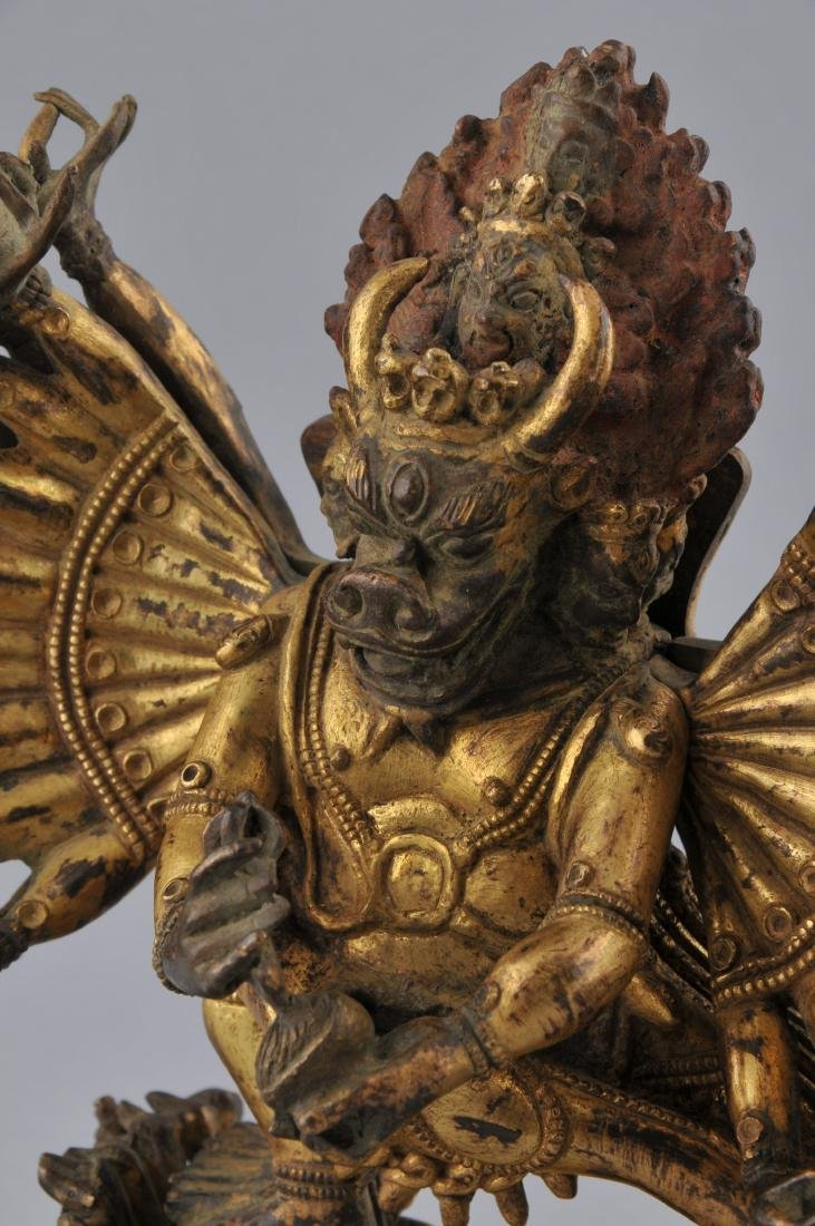 Gilt bronze image. Sino-Tibetan. 18th century. Figure - 3